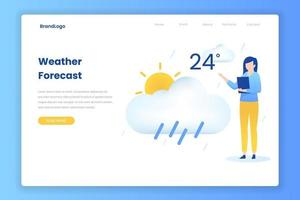 Flat design concept of weather forecast concept vector
