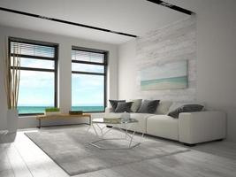 sala de diseño moderno interior con vista al mar en representación 3d