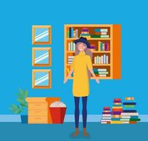 young woman with hat standing in the library vector