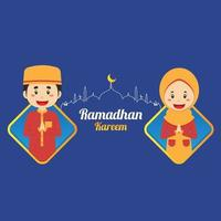 Ramadhan Kareem Background with Character