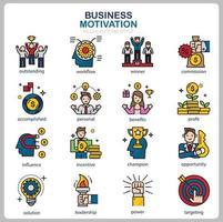 Business Motivation icon set for website, document, poster design, printing, application. Business Motivation concept icon filled outline style. vector