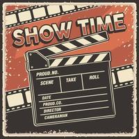 cartel retro, espectáculo de películas, tiempo, con, claqueta vector
