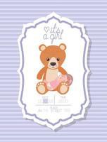 its a girl baby shower card with kid and teddy bear vector