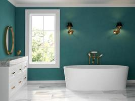 A classic style of an interior bathroom in 3D rendering