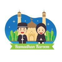 Ramadhan Kareem Background with Character vector