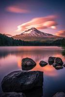 Mt Hood over Trillium Lake at sunset