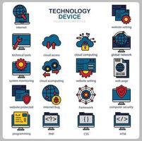 conjunto de iconos de tecnología para sitio web, documento, diseño de carteles, impresión, aplicación. icono de concepto de dispositivo de tecnología lleno de estilo de contorno. vector