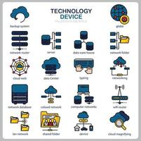Technology icon set for website, document, poster design, printing, application. Technology Device concept icon filled outline style. vector