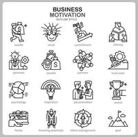 Business Motivation icon set for website, document, poster design, printing, application. Business Motivation concept icon outline style. vector