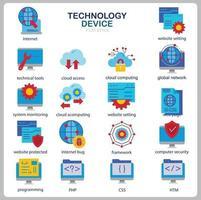 conjunto de iconos de tecnología para sitio web, documento, diseño de carteles, impresión, aplicación. icono de concepto de dispositivo de tecnología estilo plano. vector