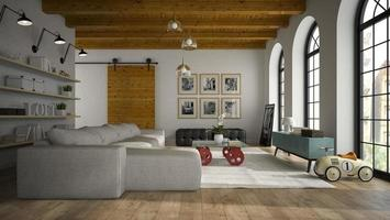 Interior of a modern design loft with toy cars in 3D rendering