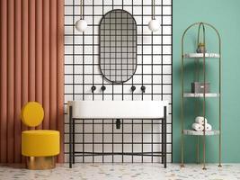 Baño interior conceptual de estilo memphis en ilustración 3d