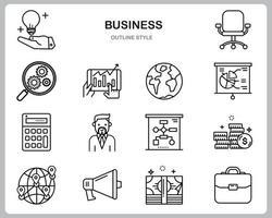 conjunto de iconos de negocios para sitio web, documento, diseño de carteles, impresión, aplicación. estilo de esquema de icono de concepto de negocio. vector
