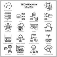 Technology icon set for website, document, poster design, printing, application. Technology Device concept icon outline style. vector