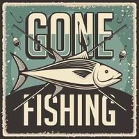 Retro Vintage Gone Fishing Poster vector