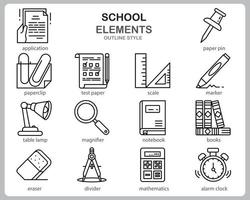 School icon set for website, document, poster design, printing, application. School concept icon outline style. vector