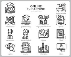 Online Learning icon set for website, document, poster design, printing, application. Online course concept icon outline style. vector