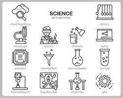 conjunto de iconos de ciencia para sitio web, documento, diseño de carteles, impresión, aplicación. estilo de contorno de icono de concepto de ciencia. vector