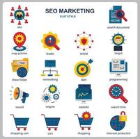 SEO Marketing icon set for website, document, poster design, printing, application. SEO Marketing concept icon flat style. vector
