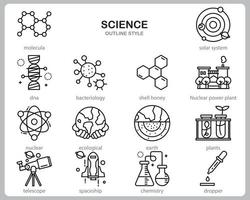 Science icon set for website, document, poster design, printing, application. Science concept icon outline style.