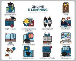 Online Learning icon set for website, document, poster design, printing, application. Online course concept icon filled outline style. vector