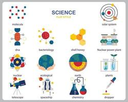 Science icon set for website, document, poster design, printing, application. Science concept icon flat style.