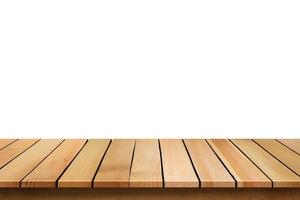 Wooden table on white