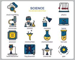 Science icon set for website, document, poster design, printing, application. Science concept icon filled outline style. vector