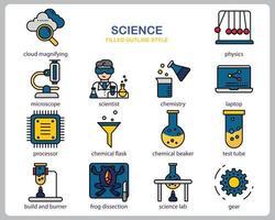 conjunto de iconos de ciencia para sitio web, documento, diseño de carteles, impresión, aplicación. icono de concepto de ciencia lleno de estilo de contorno. vector