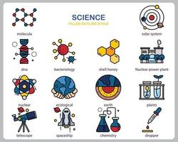 Science icon set for website, document, poster design, printing, application. Science concept icon filled outline style.