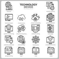 conjunto de iconos de tecnología para sitio web, documento, diseño de carteles, impresión, aplicación. icono de concepto de dispositivo de tecnología estilo de contorno. vector