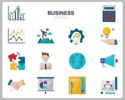 conjunto de iconos de negocios para sitio web, documento, diseño de carteles, impresión, aplicación. icono de concepto de negocio estilo plano. vector