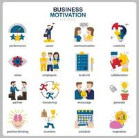 Business Motivation icon set for website, document, poster design, printing, application. Business Motivation concept icon flat style. vector