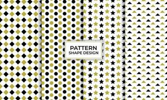 Geometric shape seamless pattern set, decorative wallpaper. vector