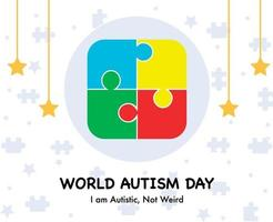 Autism Day Flat Background Vector