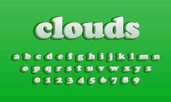 text effect clouds font alphabet vector