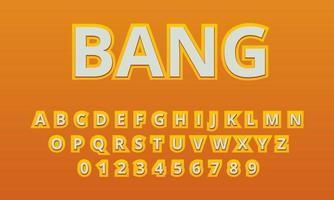 text effect bang font alphabet vector