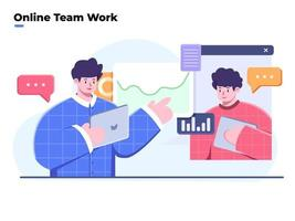 Flat style illustration of team work and business analysis, video conference and online meeting, work from home, virtual business collaboration or team work, team discussing ideas with video call. vector