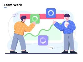 Flat style illustration of team work and Working with Data Visualization analyst, people work in a team and interact with graphs, Market analytics prediction, Finance prediction, trends forecast. vector