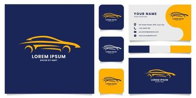Line Sporty Car Logo with Business Card Template vector