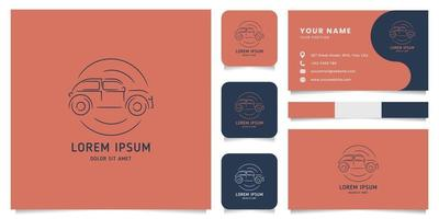 Line Classic Car Emblem Logo with Business Card Template vector