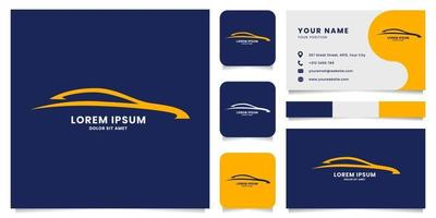 Abstract Line Car Logo with Business Card Template vector