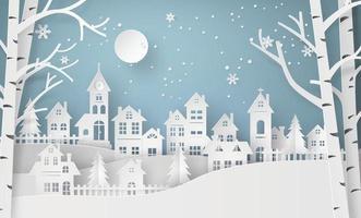 pueblo de campo de invierno con luna llena en estilo de corte de papel vector