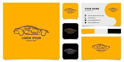Line Car Logo with Business Card Template vector