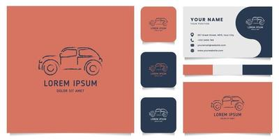Grunge Line Classic Car Logo with Business Card Template vector