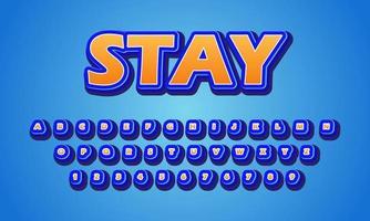text effect stay font alphabet vector