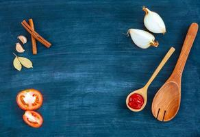 Ingredients on a blue wooden background photo