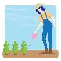 Woman waters the plants vector image for background.