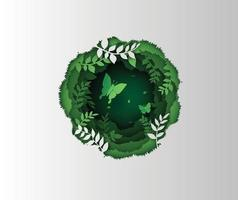 Green butterfly in circle made of lush forest plants vector