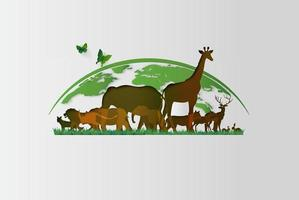 Variety of animals in paper cut style with Earth vector
